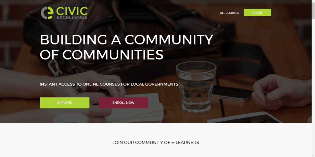 Civic Excellence - home page screenshot